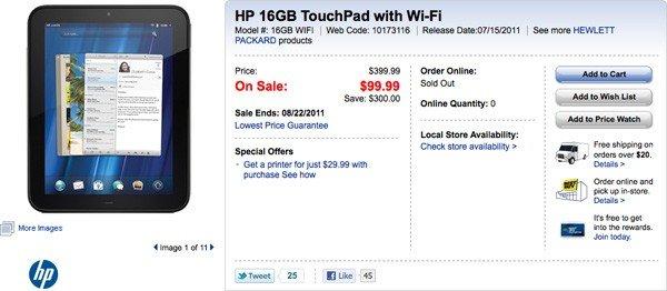 HP TouchPad 16GB in den USA für $ 99 - Ab jetzt auch bei uns um 99€ (Update)