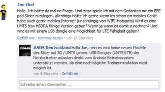 Asus Eee Pad Slider kommt nicht mit 3G / UMTS