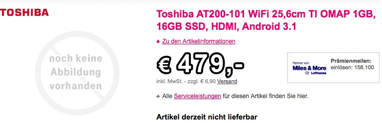 Toshiba AT200 mit 16GB für 479€ und 32GB für 584€ aufgetaucht