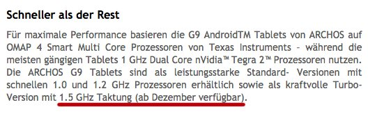 Archos G9 Turbo Tablets mit 1,5Ghz doch ab Dezember