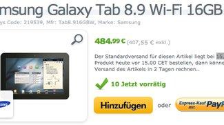 Samsung Galaxy Tab 8.9 Wifi-only in weiß für 484,99€ verfügbar