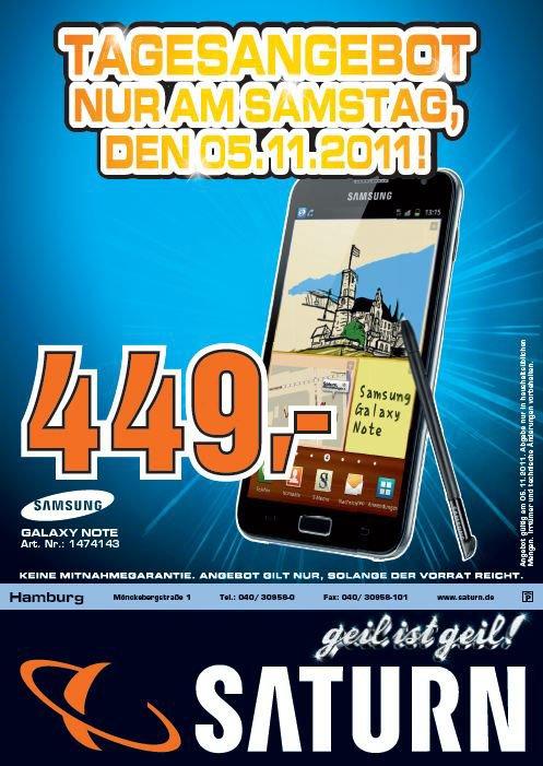 Am 5. November Samsung Galaxy Note für nur (vermutlich) 469€ bei Saturn in Hamburg - Update: nur 449€
