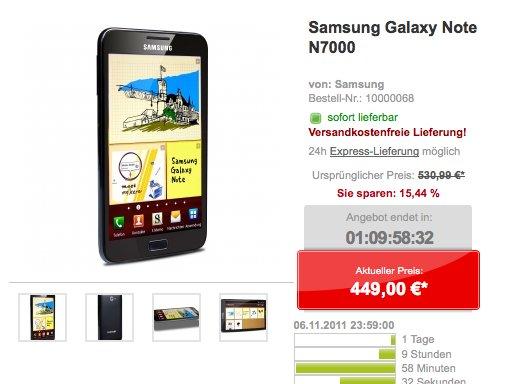 Samsung Galaxy Note für nur 449€ auch online bei getgoods.de - nur bis So 06.11.11 23:59 Uhr -*Update: ausverkauft*