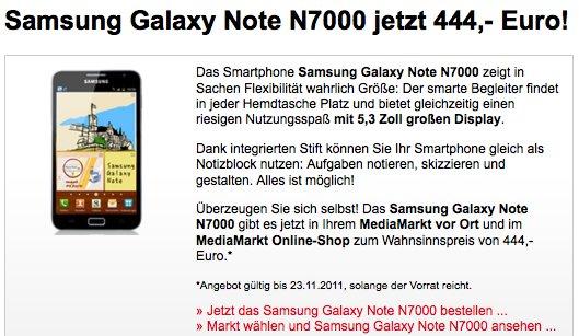 [Deal] Samsung Galaxy Note für nur 444€ bei MediaMarkt in Österreich - bis 23.11 solange der Vorrat reicht (auch Online) *Update bei DiTech für nur 439€