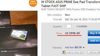 Asus Eee Pad Transformer Prime landet für $998 auf Ebay