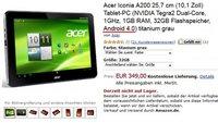 Acer Iconia Tab A200 ist ab sofort mit 32GB für 349€ bestellbar
