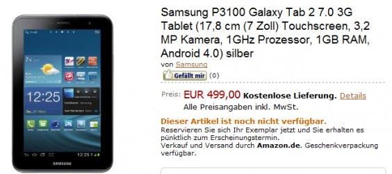 Samsung Galaxy Tab 2 (7.0) für 499€ vorbestellbar