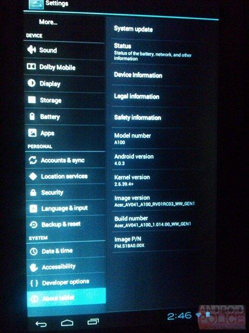 Erste Nutzer des Acer Iconia Tab A100 erhalten Android 4.0-Update