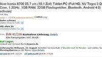 Acer Iconia Tab A700: Bereits für 413 Euro in Schwarz