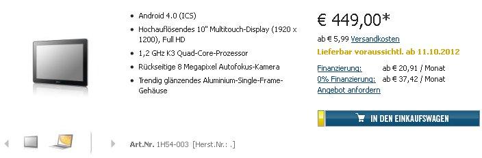 Huawei MediaPad 10 FHD mit LTE kann für 449€ vorbestellt werden - Liefertermin: 11. Oktober