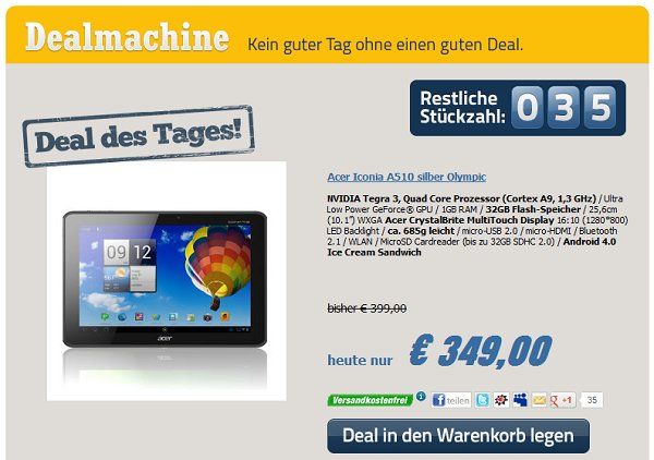 Acer Iconia Tab A510 Deal