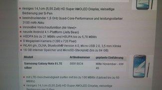Telekom: Galaxy Note 2 ab Oktober, Galaxy Note 10.1 LTE ab November
