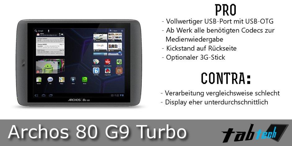 Archos 80 G9 Vergleich