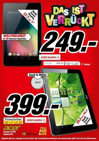 Google Nexus 7 mit 32 GB ab sofort für 249 Euro im Media Markt – Acer Iconia A700 für 399 Euro