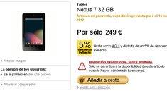 Google Nexus 7 32GB: In Spanien ab 15. November für 249 Euro