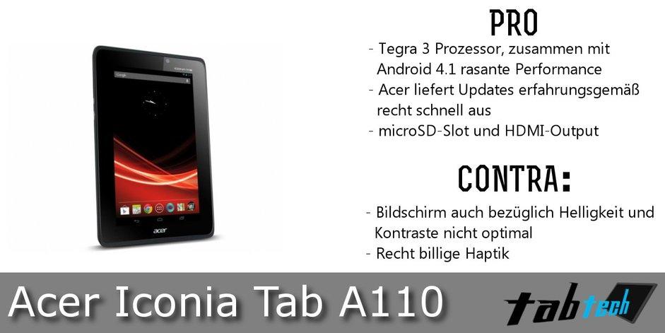 IconiA Tab A110 Vergleich