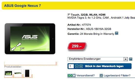 Schweizer Online Shop listet Google Nexus 7 mit 32GB für 299 CHF - Versandbereit innerhalb einer Woche