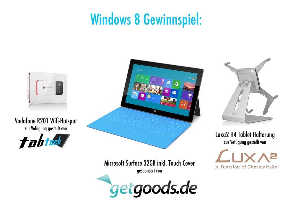 Gewinne ein Microsoft Surface mit Touch Cover von getgoods.de uvm. - Update: Gewinner stehen fest