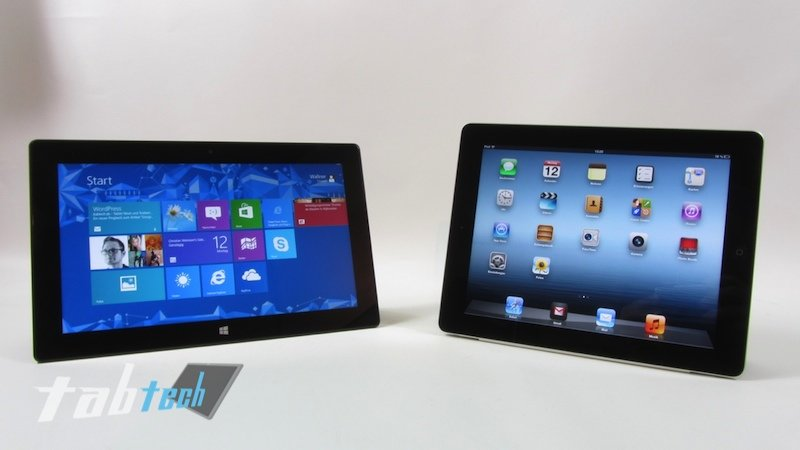 Vergleich: Apple iPad 4 vs. Microsoft Surface RT