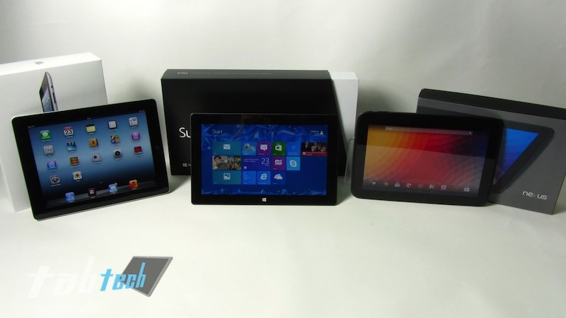 Apple iPad 4 vs. Google Nexus 10 vs. Microsoft Surface - Der Vergleich