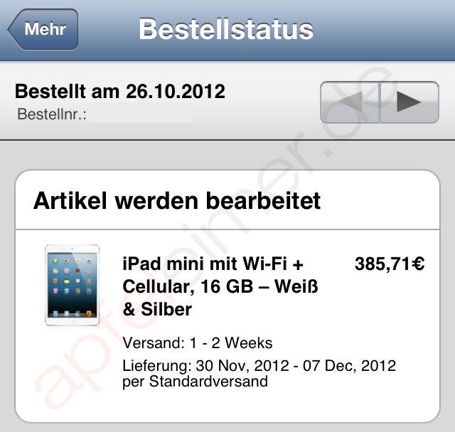 Apple iPad mini: Lieferung mit LTE erst Ende November
