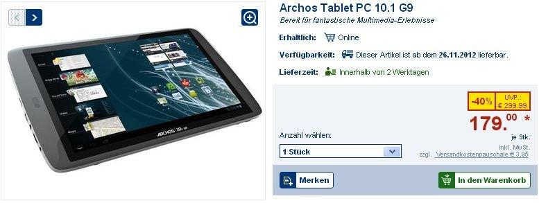Archos 101 G9 wird online bei Lidl verschleudert