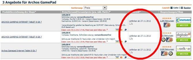 Archos GamePad ab 27. November für 149 Euro erhältlich