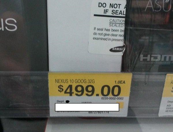 Google Nexus 10 schon beim Walmart in den USA aufgetaucht