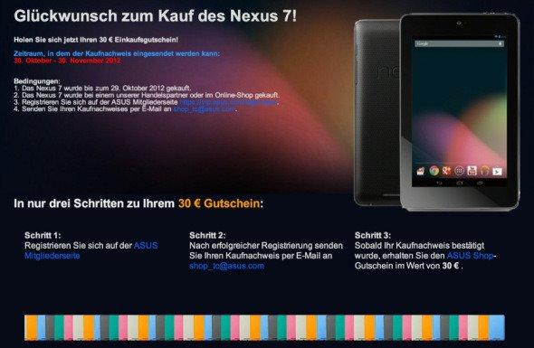 Google Nexus 7: Kein 30 Euro Gutschein für Käufer beim Google Play Store
