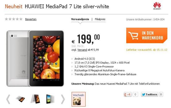 Huawei MediaPad 7 Lite ab 15. November 2012 in Deutschland erhältlich?