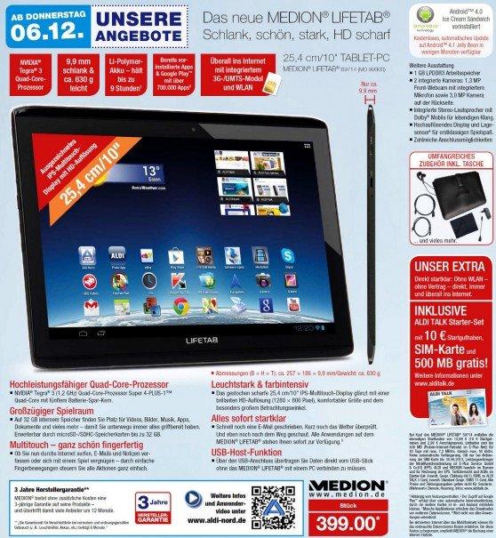 Medion Lifetab S9714 für 399 Euro ab 6. Dezember 2012 bei Aldi