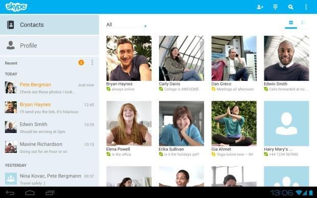Skype: Tablet-Version für Android, Messenger-Kontakte für Windows 8