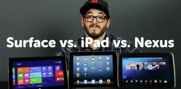 iPad 3 vs Nexus 10 vs Surface RT - Die führenden 10 Zoll Tablets im Videovergleich