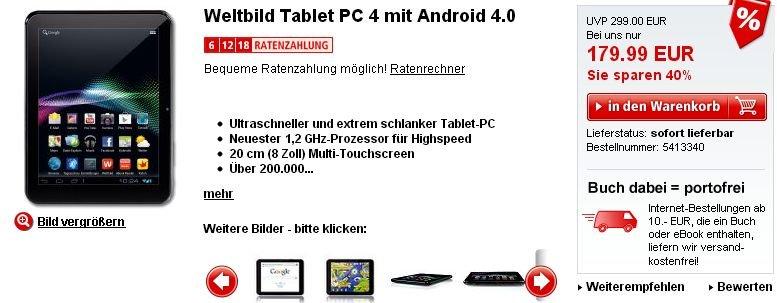 Weltbild verkauft 8 Zoll Tablet PC 4 mit Dual Core Prozessor für 180 Euro