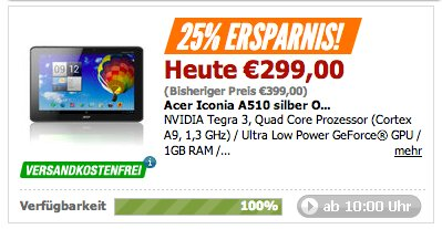 Deal: Acer Iconia A510 für 299 Euro bei Notebooksbilliger - Update: auch bei Amazon