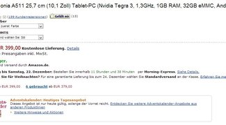 Deal: UMTS-Tablet Acer Iconia Tab A511 heute bei Amazon für 399 Euro