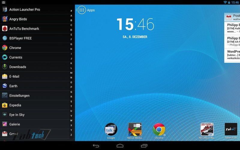 Action Launcher auf dem Google Nexus 10 im Hands On