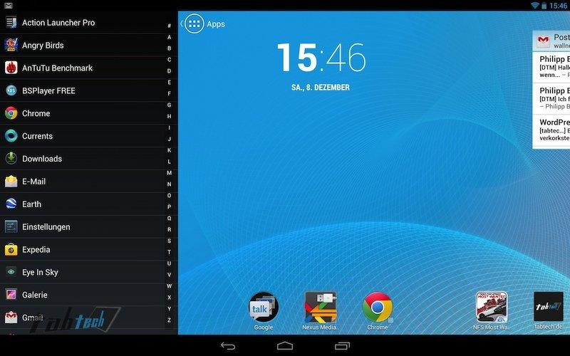 Action Launcher auf dem Google Nexus 10 im Hands On