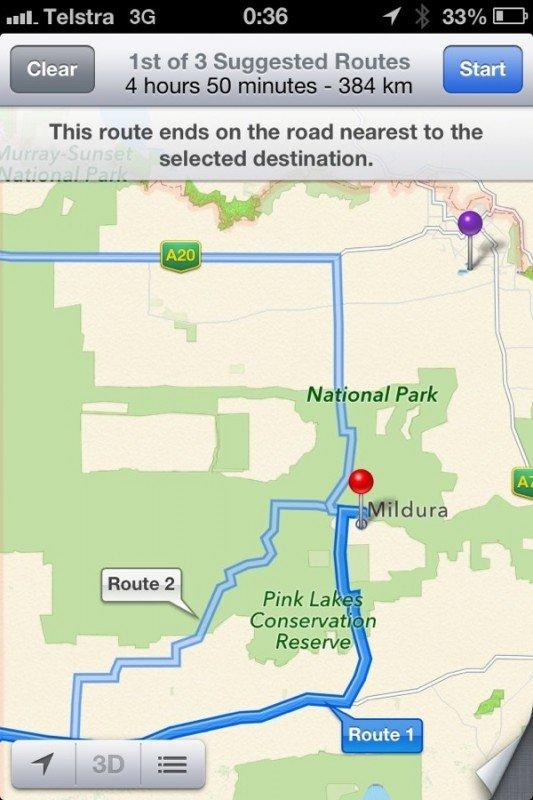 Australische Polizei: Bitte kein Apple Maps rund um Mildura verwenden - Update: Apple bessert umgehend nach