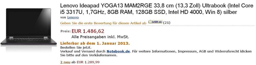 Lenovo Yoga 11 inzwischen erhältlich, Yoga 13 erscheint erst 2013