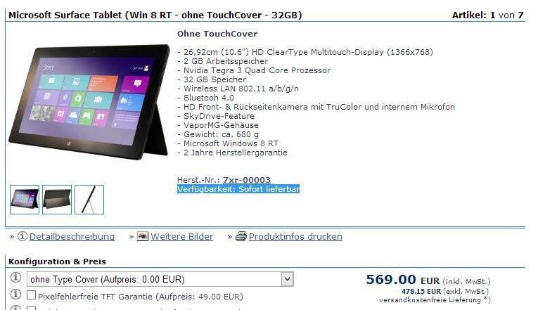Microsoft Surface RT früher bei anderen Händlern – In Deutschland bereits teuer ab Lager gesichtet
