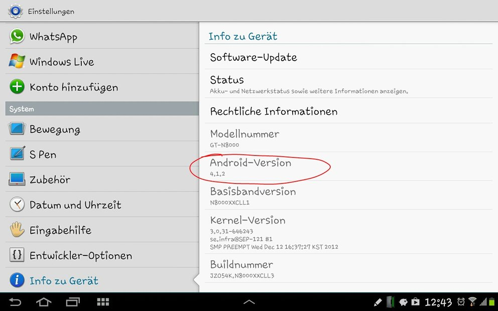Samsung Galaxy Note 10.1 (N8000) bekommt Android 4.1.2 Update