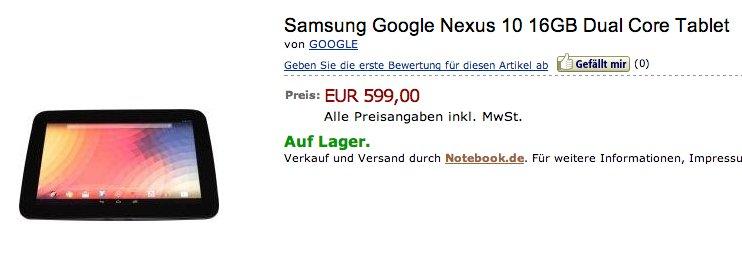 Google Nexus 10 erstmals bei Online Shop auf Lager - auch über Amazon