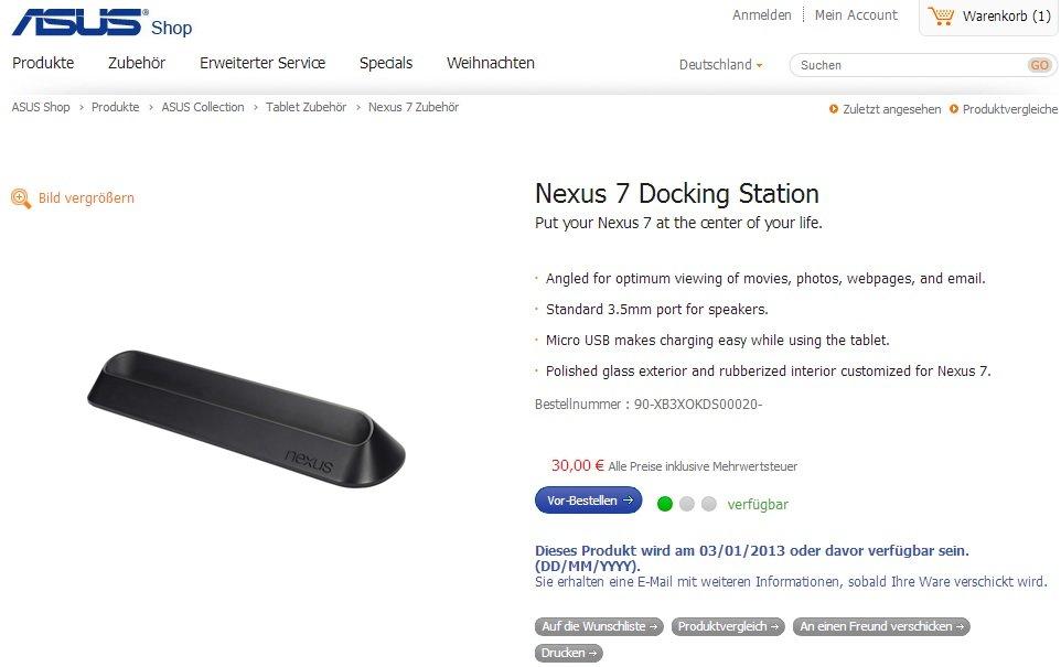 Nexus 7 Dock ab sofort für 30€ im deutschen Asus Shop vorbestellen