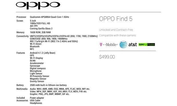 Oppo Find 5 erscheint für 499 US-Dollar in den USA