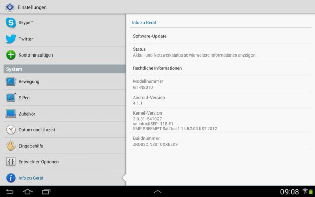 Samsung Galaxy Note 10.1 WiFi erhält Android 4.1.1 Jelly Bean
