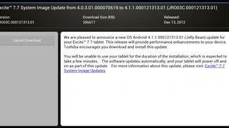 Toshiba Excite 7.7 erhält Android 4.1.1 Jelly Bean - Update: Toshiba Excite 10 (AT-300) nun ebenfalls an der Reihe