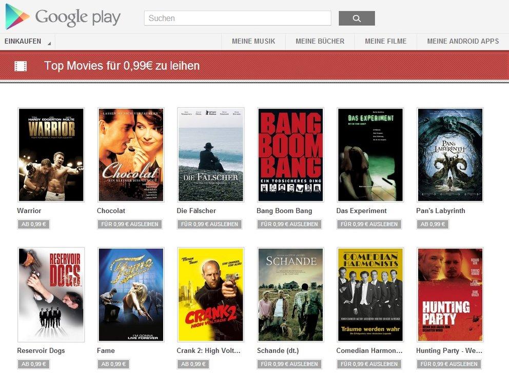 Viele Filme im Play Store aktuell für nur 99 Cent zum Leihen