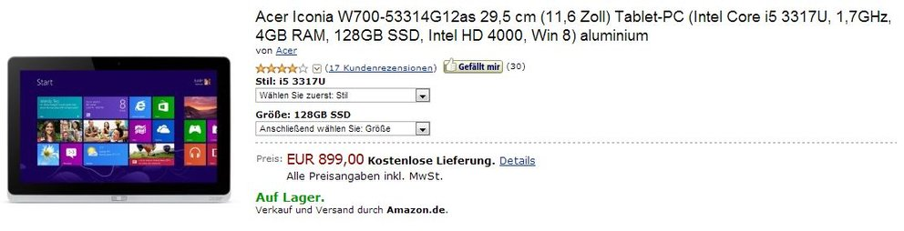Acer Iconia Tab W700 mit Windows 8 und Intel Core i5 bei Amazon jetzt ab Lager für 899 Euro lieferbar