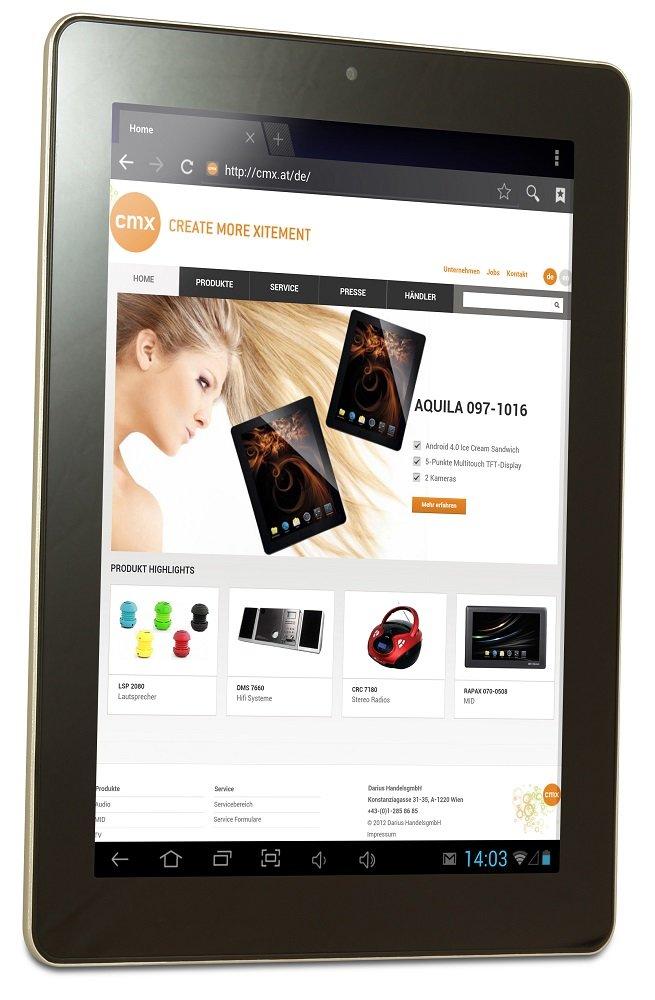 cmx Clanga Tablets: 9.7 Zoll Display mit 2048 x 1536 Pixeln, Quad Core CPU und UMTS aus Österreich